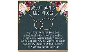 Collar de tía y sobrina: regalo de tía y sobrina, joyería de tía y sobrina, collar de tía, 2 círculos entrelazados (latón chapado en oro rosa, NA)