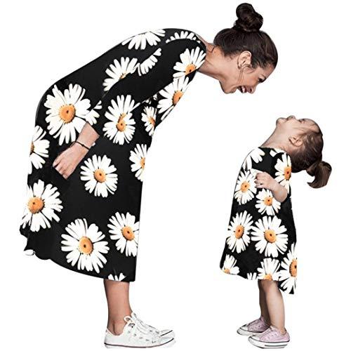 MCYs Mama Tochter Mommy & Me Kleinkind Baby Kinder Mädchen Sonnenblume Kleid Outfits Familie Kleidung (M, Mama schwarz)