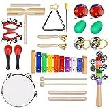 Yissvic 12PCS Musikinstrumente Musical Instruments Set Spielzeug von Holz Percussion Schlagzeug Schlagwerk Rhythmus Band Werkzeuge für Kinder und Baby