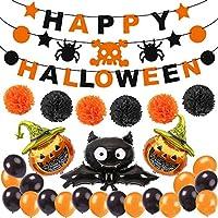 YOUYIKE Decoración de fiesta de Halloween Set Happy Halloween Balloons Banner, Bat, Pumpkin Ghost Foil balloon Black Orange Globo de látex para Halloween Bar Suministros de decoración del hogar