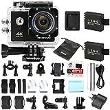 WiMiUS Actioncam 4k Kamera Action Wifi Full HD Actionkamera 16MP Helmkamera Wasserdicht 40M mit 2 Batterien (Q1) (Schwarz)
