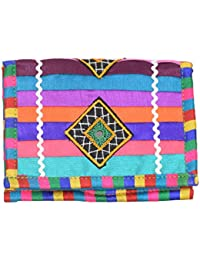 Ethnics Of Kutch - Women's Clutch -Cotton Silk Multi Colour Traditional Ethnic Kutchhi Handicraft With Strip And...