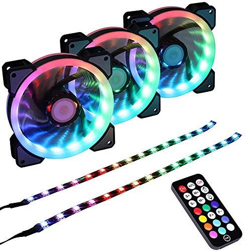 Miwatt Regenbogen RGB LED Gehäuse Lüfter,für PC-Gehäuse, Prozessorkühler, Gehäusedekoration (120MM 3 Stück RGB-Lüfter, 2 Stück LED-Streifen)