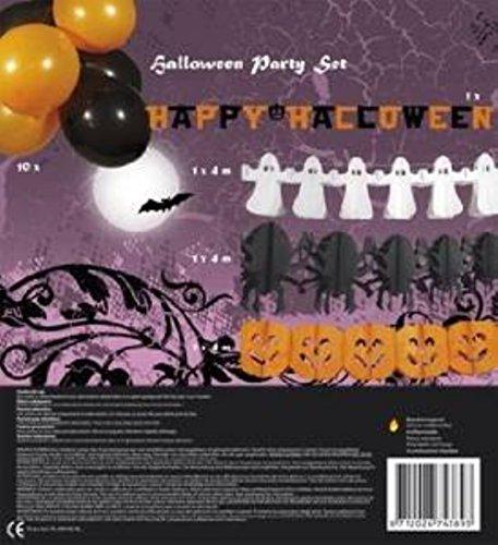 HAAC Happy Halloween Deko Set mit 4 verschiedene Girlanden und 10 Ballons Spinne Kürbis Geist