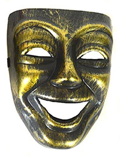 Halloweenia - Karneval, Motto-Party Voll-Gesichtsmake Lachen, Venezianischer Stil, Gold