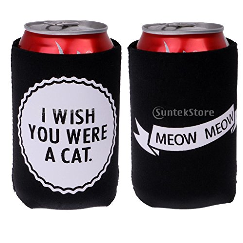 51X77zn7b%2BL. SS500  - Sharplace I WISH YOU WERE A CAT, MEOW MEOW Set Funny Stubby Beer Tin Can Cooler Sleeve Wedding Party Accessories