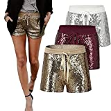 Frauen Pailletten Shorts Elastische Rot Silber Gold Paillette Shorts Sexy Frauen Kurze Hosen Tasche Bling Clubwear Sparke Shorts Outfit