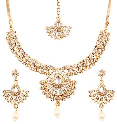 Touchstone Hollywood glamour Filigran weiß Kristalle Brautschmuck Jewelry Halskette in Antik Gold Ton für Frauen