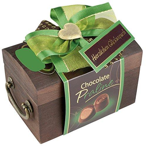 Pralinen Geschenkbox aus Holz | Pralinenschachtel Holztruhe mit Spruch: Herzlichen Glückwunsch | Kleines Geschenk Geschenkidee Freundin mit Schokolade