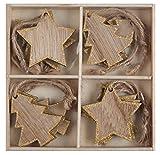 cama24com Weihnachtsdeko Platzkarte Namensschild Geschenkanhänger aus Holz mit Gold Glitter