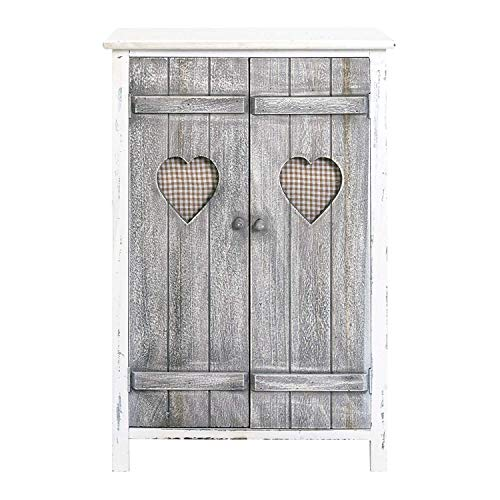 Rebecca Mobili Armario shabby chic, alacena de madera, 2 puertas, gris blanco, baño cocina - Medidas: 78 x 51 x 31 cm ( AxANxF) - Art. RE4563
