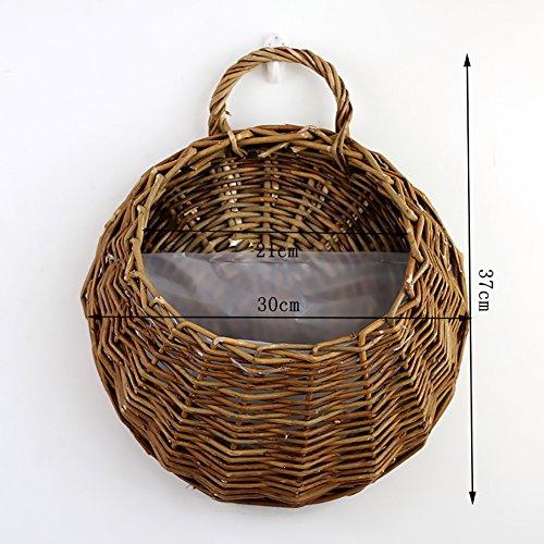 PROKTH Aufhängen mit Korb, handgemachte Wicker Rattan Töpfe, mit Pflanze Topf Übertopf zum Aufhängen Vase, Weide, braun, Large -