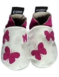 C2BB - Chaussons cuir bébé   Petits papillons violet