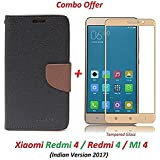 Like It Grab It Redmi 4 Flip Cover - For Luxury Mercury Diary Wallet Style Black Flip Cover Case For (Redmi 4 - May 2017 Launch) Redmi 4 Flip Cover + Premium 2.5D Curved 9H Hardness Tempered Glass Screen Protector (Brown-Gold)