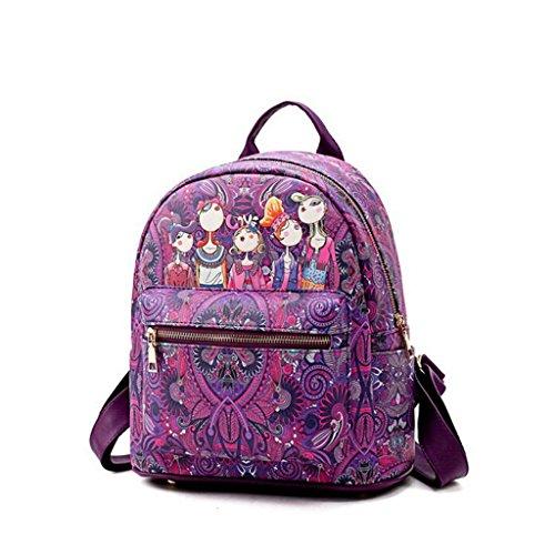 Z&YF Damentaschen Schultertaschen Schräges Kreuzpaket Rucksack Waldabteilung des weiblichen Pakets Dame beiläufige Tasche Reißverschlusstasche Grün Purple