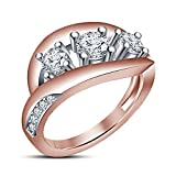 Vorra Fashion Lovely three Stone Ring 14K Rose Gold Plated 925 Sterling Silver White CZ Round Cut For Wedding (6)