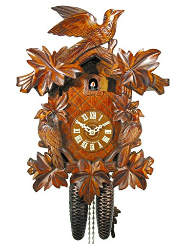 Schwarzwälder Kuckucksuhr/Schwarzwald-Uhr (original, zertifiziert), 8-Tage-Werk, mechanisch, 7 Laub, 3 Vogel, Kukusuhr, Kukuksuhr, Kuckuksuhr (schönes Geschenk)