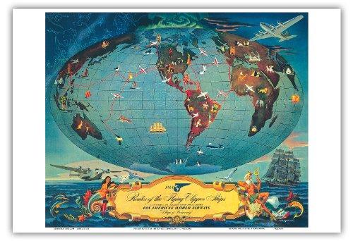 Routen Der Flying Clipper Schiffe - Pan American World Airways (PAA) - Flügel Der Demokratie - Vintage Retro Fluggesellschaft Reise Plakat Poster von L. Helguera c.1941 - Kunstdruck - 33cm x 48cm