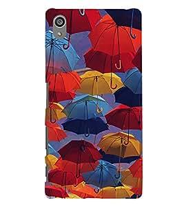 Colourful Umbrellas 3D Hard Polycarbonate Designer Back Case Cover for Sony Xperia Z5 Premium (5.5 Inches) :: Sony Xperia Z5 Premium Dual