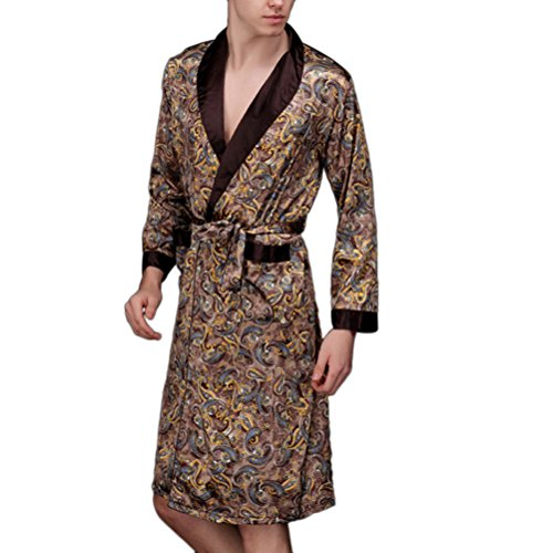 Zhhlinyuan Men's Silk Satins Dressing Gown Sleepwear Bathrobe Night Wear (Silk-roben Sexy)