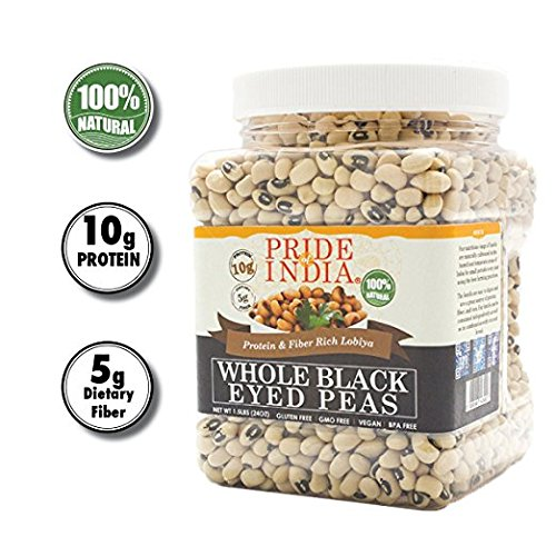 Pride Of India indian ganze Black Eyed Peas Protein & ballaststoffreiche lobiya, 3 Pfund Glas -