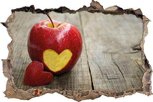 Herzschnitzerei in fruchtigem Apfel Wanddurchbruch im 3D-Look, Wand- oder Türaufkleber Format: 62x42cm, Wandsticker, Wandtattoo, Wanddekoration (Vitamin-frucht-snacks)