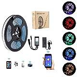 Tiras LED 5m, WiFi Tiras de luces inalámbricas para teléfonos inteligentes Kit de luces LED 5050 Luces LED, Trabajando con sistema Android y iOS, Alexa, Asistente de Google