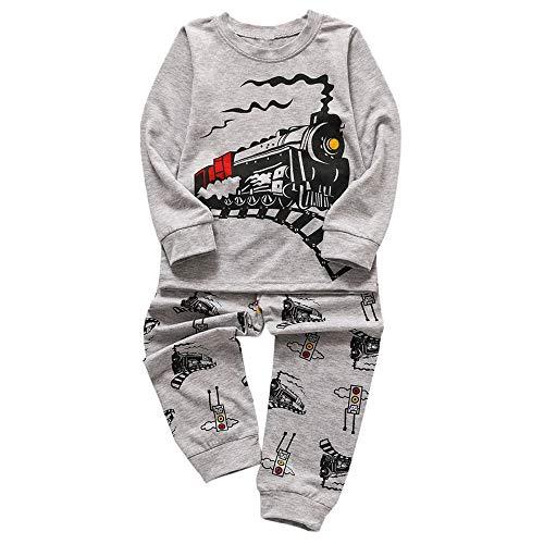 (Pullover Home-Service Kinder Jungen langärmeligen Cartoon-Zug Drucken Home Service Shirt + Hosenanzug beiläufige langärmelige lose Shirt Jogginghose)