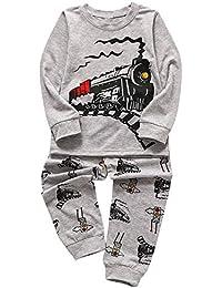 Pullover Home-Service Kinder Jungen langärmeligen Cartoon-Zug Drucken Home Service Shirt + Hosenanzug beiläufige langärmelige lose Shirt Jogginghose