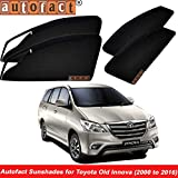 #10: Autofact Magnetic Window Sunshades / Curtains for Toyota Innova Old (2000 to 2016) [Set of 6pc - Front 2pc With Zipper ; Rear 2pc Without Zipper ; Baby Seat 2pc Fix type Without Zipper & Without Magnet] (Black)