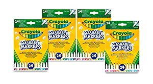 CRAYOLA 7462 - 4 Paquetes de 24 rotuladores de Punta Fina, Tinta Lavable, para Escuela y Tiempo Libre, Multicolor