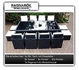 Ragnarök PolyRattan Essgruppe - Tisch 8 Stuhl 4 Hocker - Aluminium