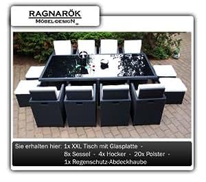 Ragnarök-Möbeldesign Ensemble de mobilier de jardin en polyrotin avec plaque de verre et coussins comprenant 8 chaises et 4 tabourets Noir