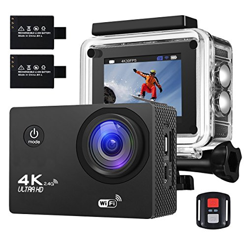 Action Kamera 4K 16MP Sports Cam - BUIEJDOG Ultra Full HD WIFI Action Camera 170 ° Weitwinkel 30...
