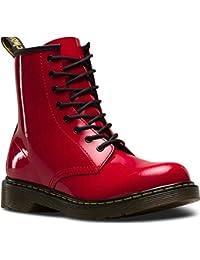 Dr Martens juventud Delaney Charol 8-Eye cordones/botas de equitación con cremallera rojo