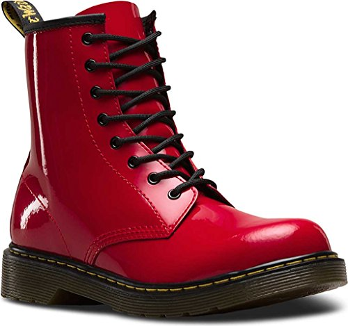 Dr Martens Gioventù Delaney brevetto in pelle 8-eye Lace Up/Zip Boot rosso Rosa