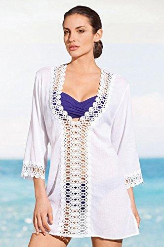 Honeystore Damen Strankleid Perforierte Nähte Spitze V-Ausschnitt Badeanzug Bikini Kittel Strand Rock Weiß