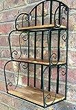 E-X Wandregal Wandkorb 3 Ablagen Metall/Holz Industrie Vintage Loft