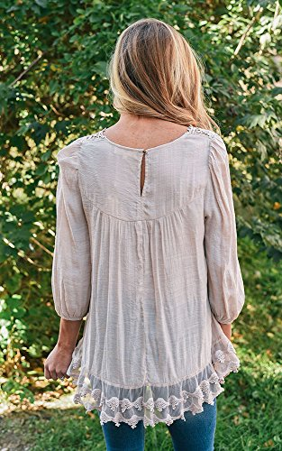 Junshan Manches Longues Pure Couleur Encolure Applique Dos Ouvert Fourche Manches t-Shirt Blouse Femmes Épissure à Manches Longues Blouse Pull Tops Blanc de riz