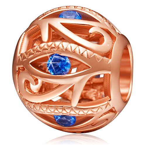 Placcato oro rosa perline di occhio di horus ciondolo in argento sterling con zirconi blu traforato charms per braccialetti collana