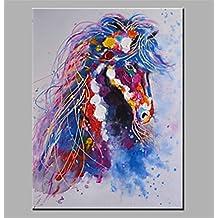 ZYT Pittura a olio moderna Estratto mano pura disegnare pronto ad appendere decorativa la pittura a olio di cavallo . 60*90cm