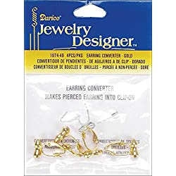Earring Converters Pierced To Clip-On 4/Pkg-Gold