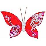 Club verde de plumas de mariposas con Clip, Rojo, 100mm, 12unidades)