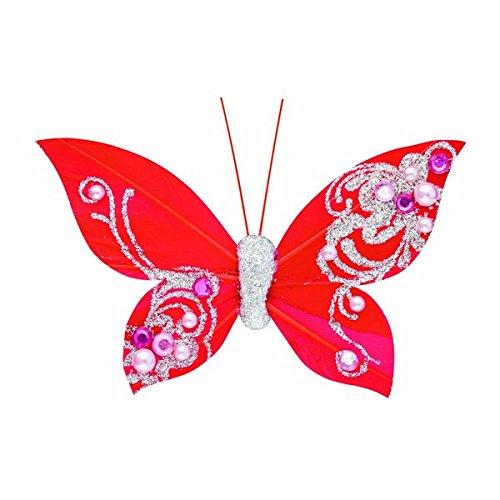 Club Green Feather Papillon avec Clip, Rouge, 100 mm, Lot DE 12