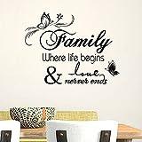 Asenart Family Where Life Begins & Love Never Ends DIY Schriftzug Spruch Wand Aufkleber Home Dekoration Größe 50,8x 63,5cm