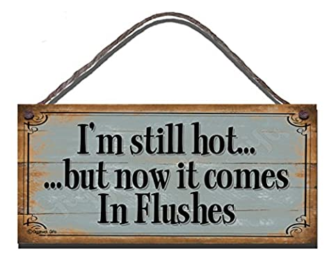 Funny Sign Birthday Occasion Shabby Chic Wooden Wall Plaque I'm Still Hot But Now They Come In Flushes Gift Present