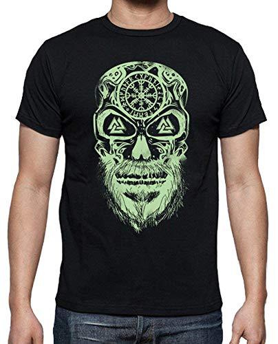 latostadora - Camiseta Calavera Vikingos Verde para Hombre Negro S
