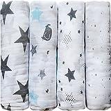 'Noches Estrelladas' CuddleBug Muselinas Pack de 4 | Mantas de Muselina de Algodón | Paños de Muselina para Bebés Calidad | Garantía de por Vida (Estrellas)