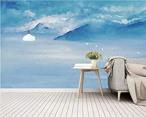 Weaeo Benutzerdefinierte 3D Wallpaper Moderne Abstrakte Blue Mountain Landschaft Kunstwand Flur Kinderzimmer Foto Tapete T-400X280Cm - Blue Wallpaper Mountain