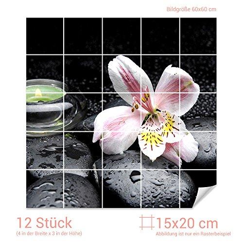 Graz Design 765152_15x20_60 Fliesenaufkleber Steine und Lilie   Bad-Fliesen mit Fliesenbildern überkleben (Fliesenmaß: 15x20cm (BxH)//Bild: 60x60cm (BxH))